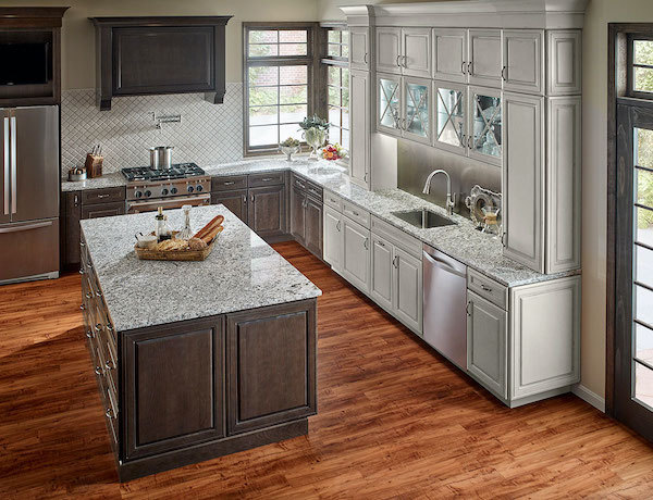 white granite with wooden floor and arabesque tile