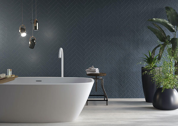 porcelain featured wall in modern bathroom