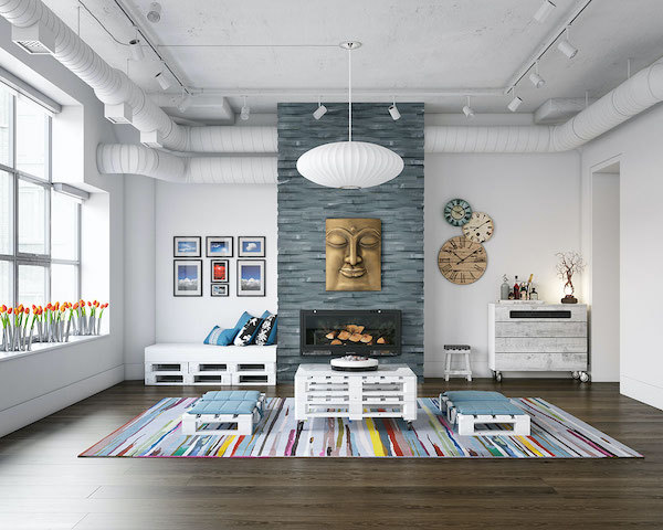 3d wave stacked stone fireplace in black