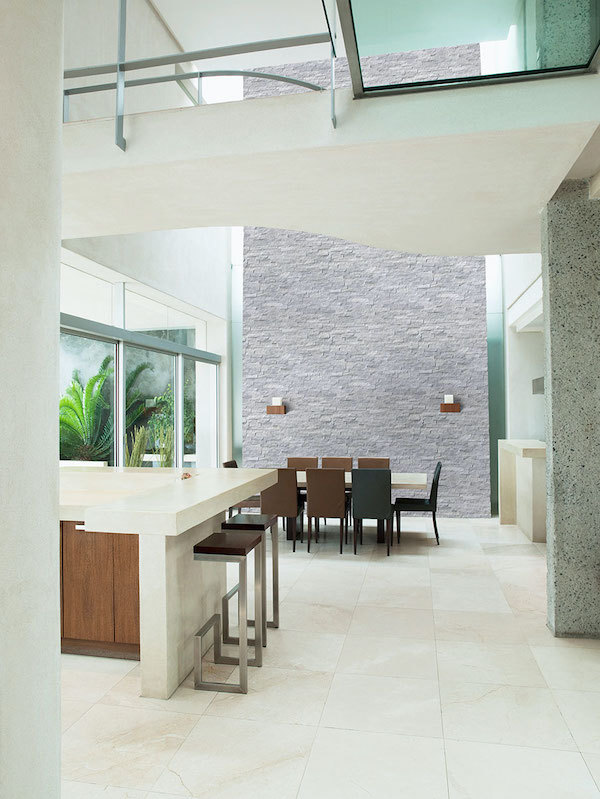 stacked stone panels in white dining room