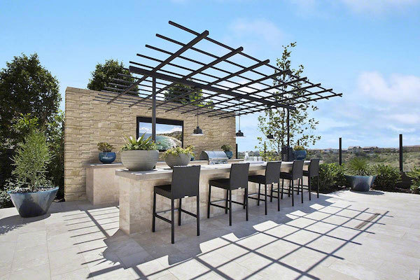 3d honed stacked stone patio wall