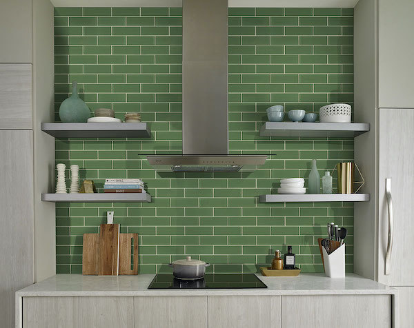 subway green tile on kitchen wall