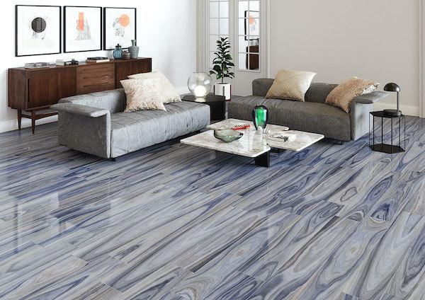 porcelain wood tile in polished blue wood
