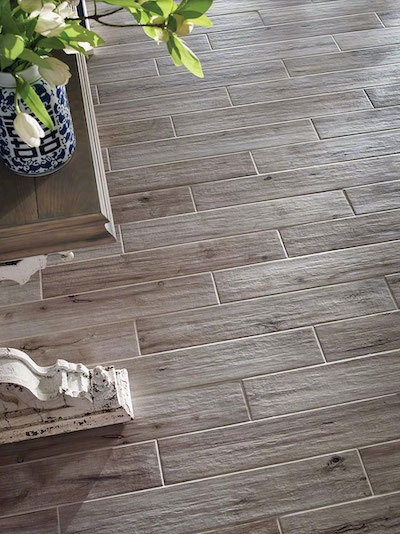 porcelain wood tile with knots and grain