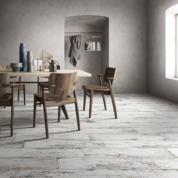 neutral dining room with whitewashed wood tile