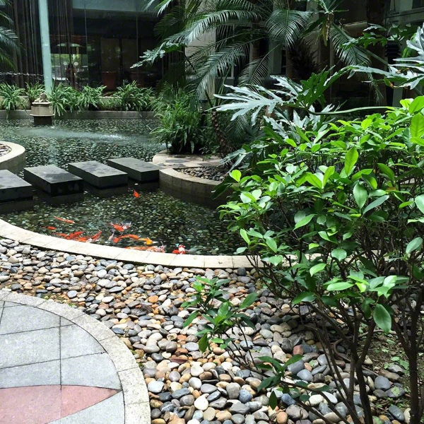outdoor water feature with pebble path