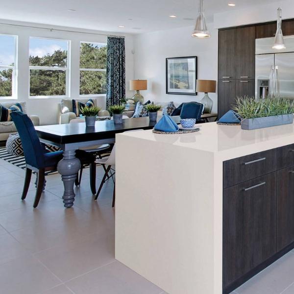 brilliant white quartz countertop with blue kitchen accents