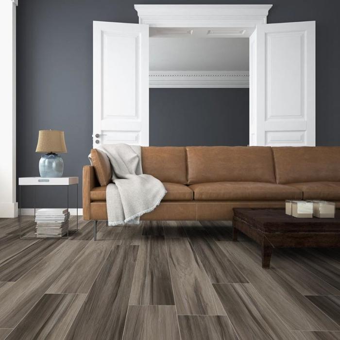 coffee wood look plank vinyl tile flooring