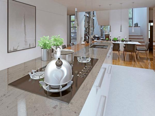 long granite island countertop with stove