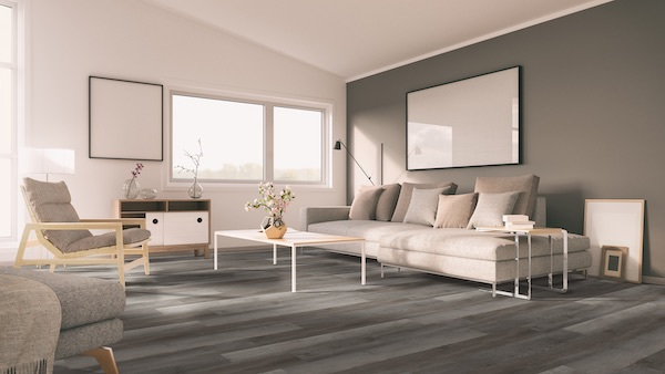 greige wood plank vinyl tile in saddle tones living room