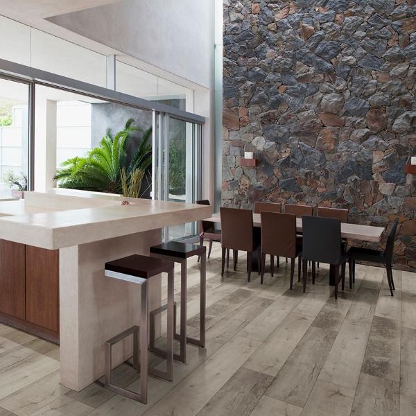 vinyl plank flooring with reclaimed wood look