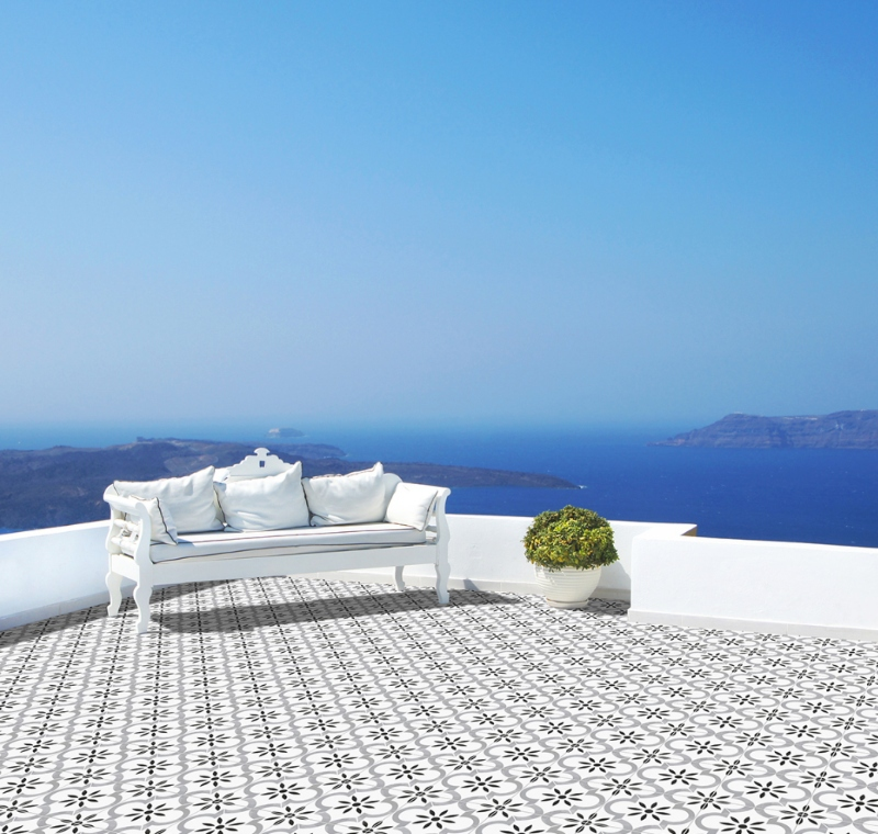 greek inspired patio with porcelain tile