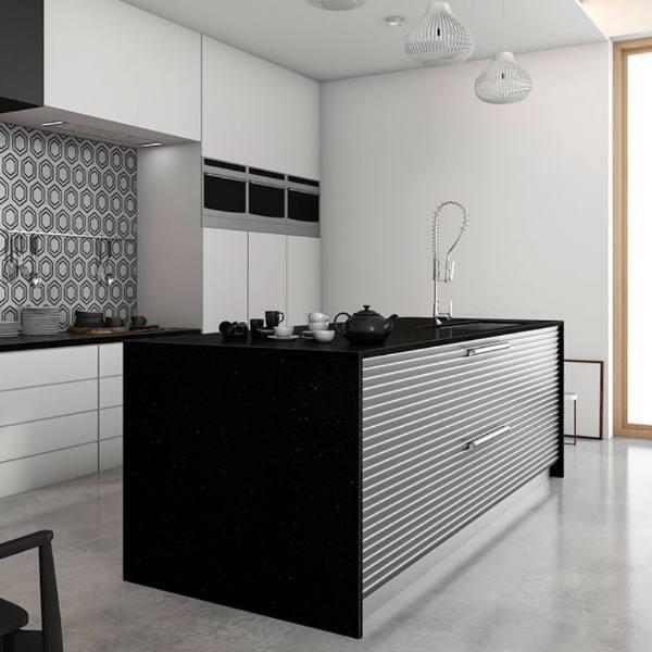 striking black granite in modern kitchen