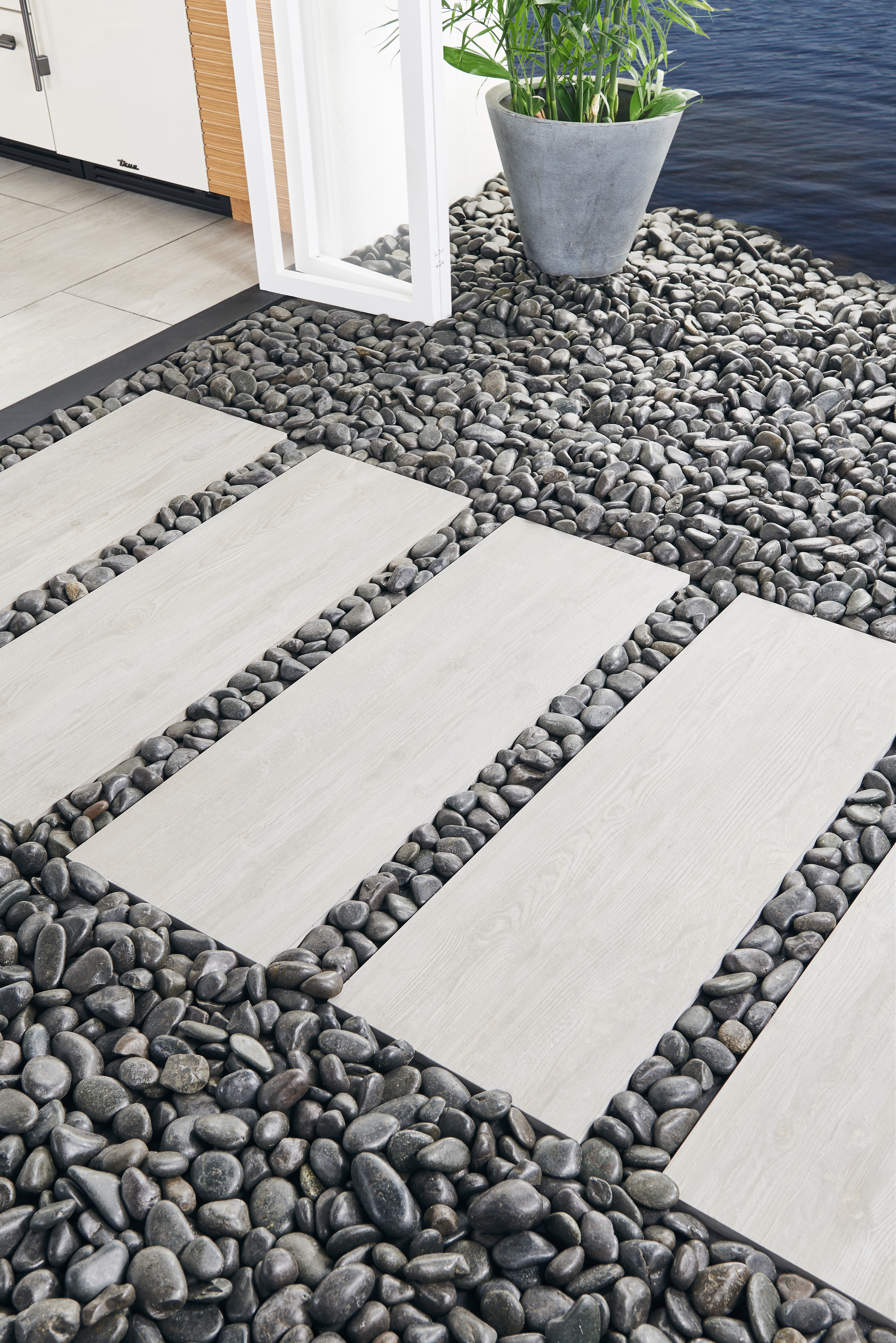 polished stone filler with paver