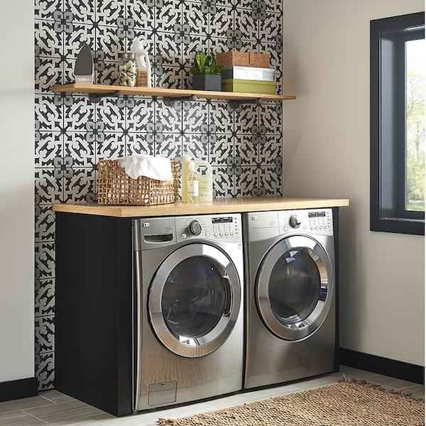 fleur+black grey and white porcelain tile in laundry room