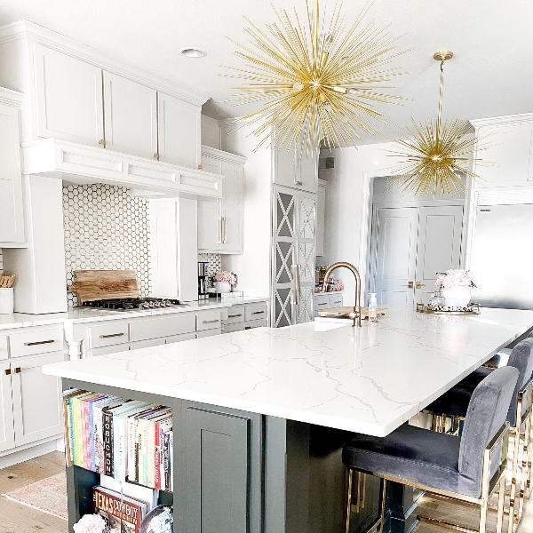bright contemporary minimalist kitchen with quartz