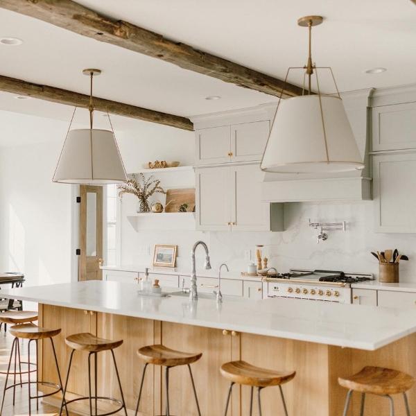 natural wood and white minimalist kitchen with quartz
