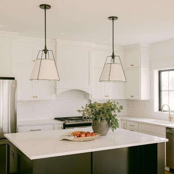 marble look quartz counter in minimalist kitchen