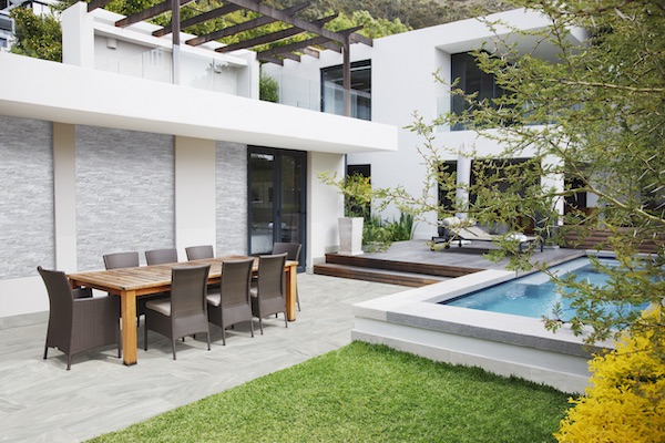 grey pavers for modern patio