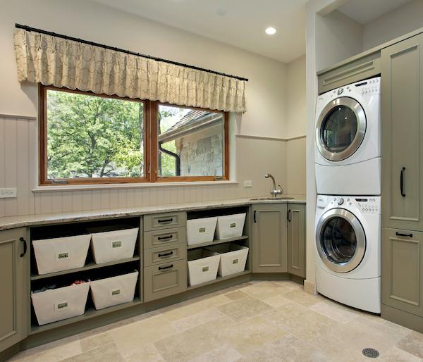 porcelain tile flooring that looks like travertine in laundry room