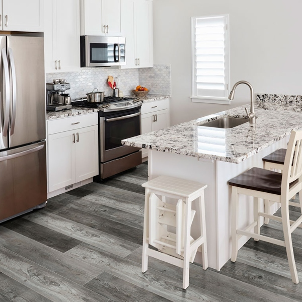 multi shade gray colored vinyl plank flooring