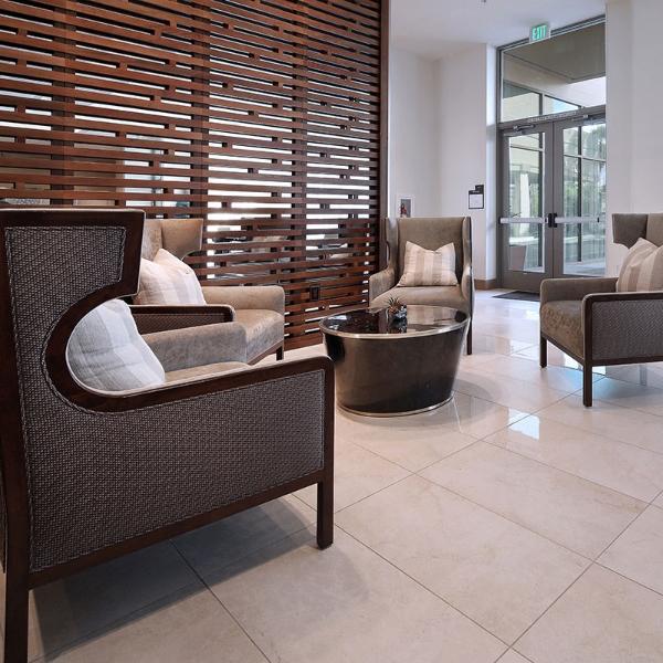 porcelain hotel flooring with elegant furniture