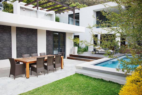 carrara porcelain pavers for clean patio design