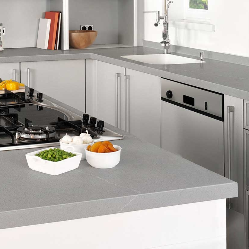 gray concrete quartz modern kitchen counter