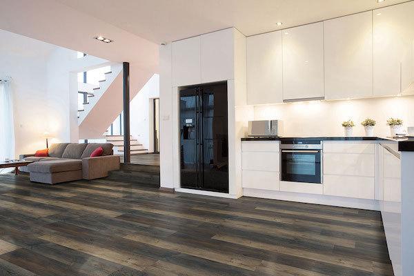 oversized vinyl flooring in open floorplan