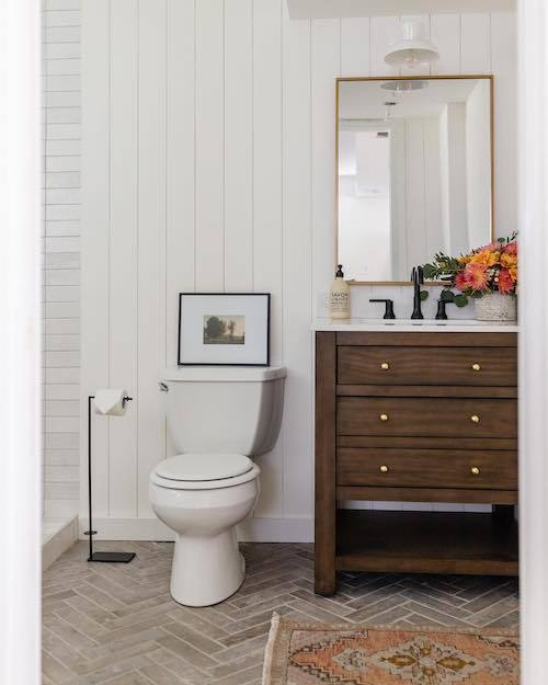 brickstone taupe patterned bathroom floor