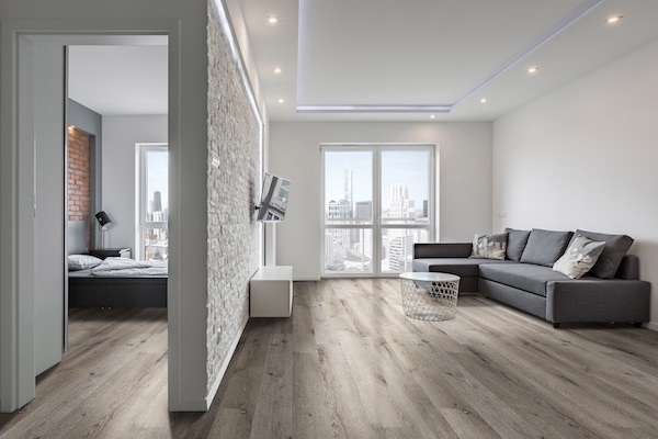 greige wood look vinyl tile for urban studio