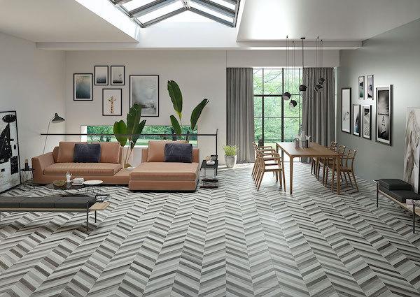 iris platinumantoni porcelain flooring in herringbone pattern living room