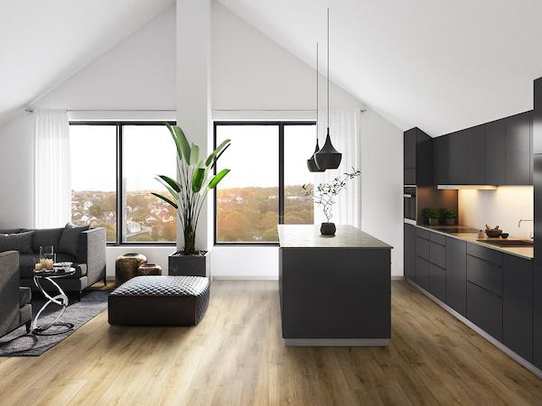 flooring in dark and clean modern kitchen