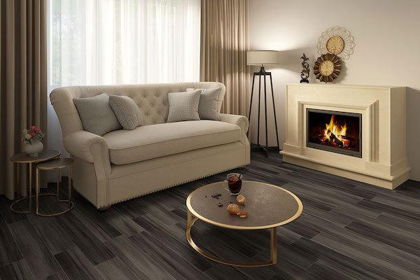 jenta vinyl plank flooring in cozy living