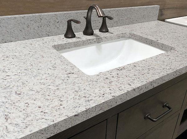 white speckled prfag granite countertop