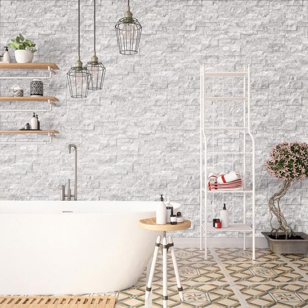 feature wall in industrial bathroom