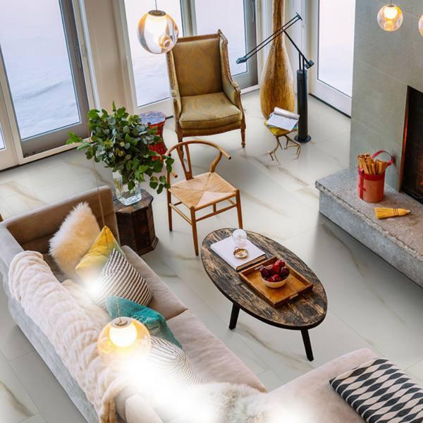 porcelain marble look tile on living room floor