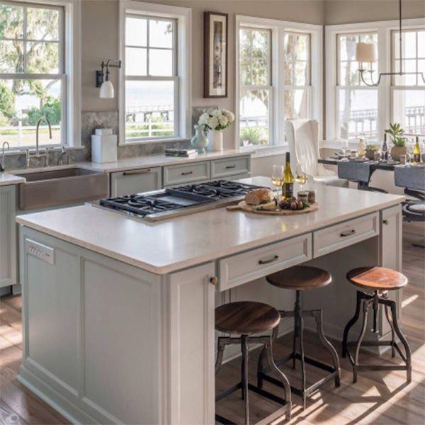 gray quartz kitchen island