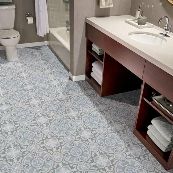 light blue floral pattern tile bathroom