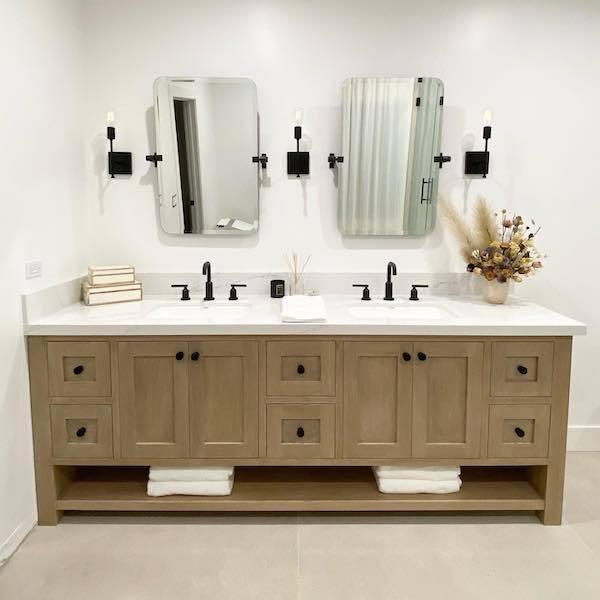 marble look quartz in bathroom