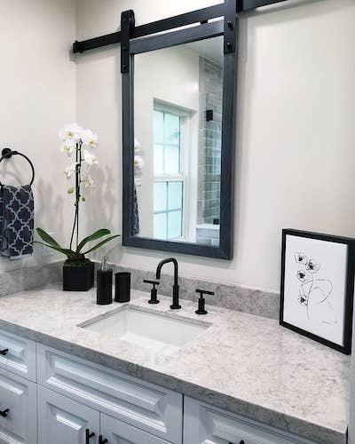 quartzite countertop in bathroom
