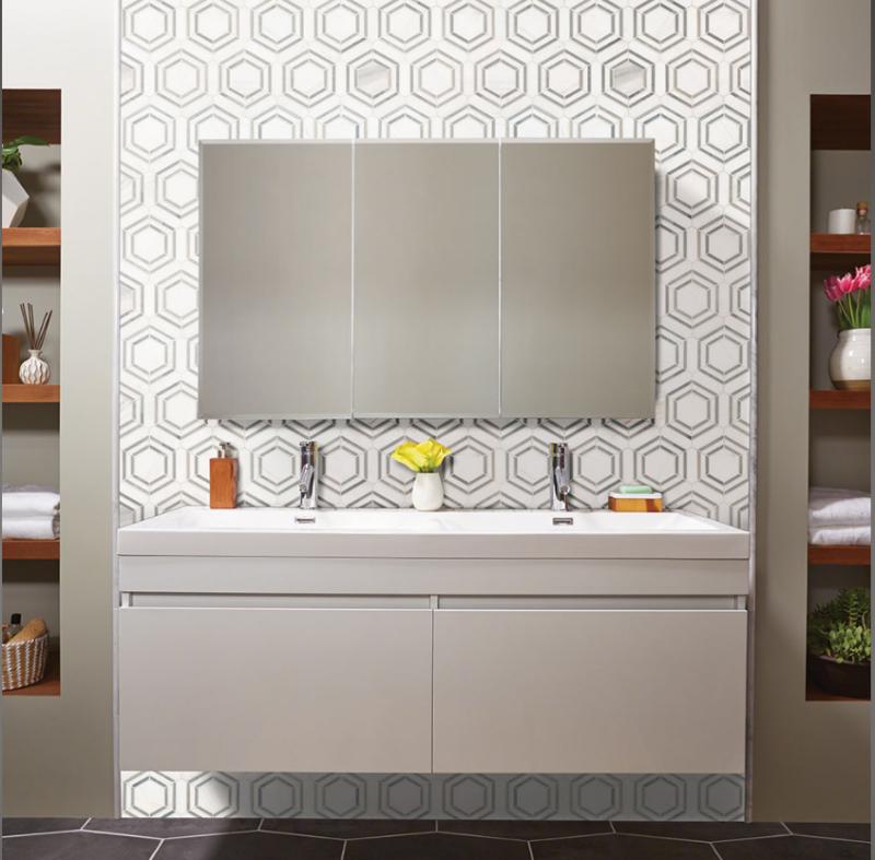 geometric bathroom backsplash tile in gray and white