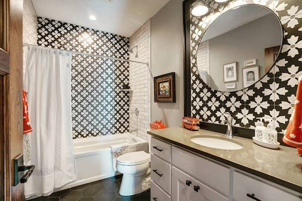 porcelain floral in coffee shower surround
