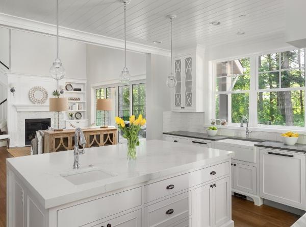 white granite in traditional kitchen