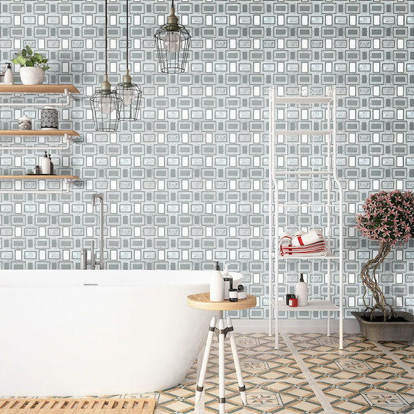 full feature wall geometric tile wall in the bathroom