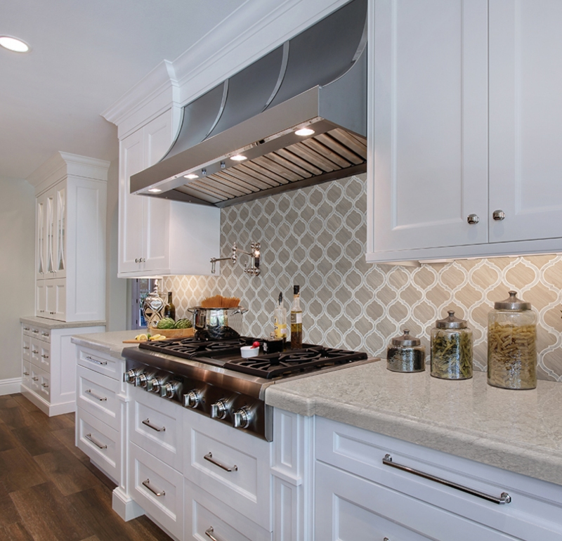 cream and tan country kitchen with marble tile