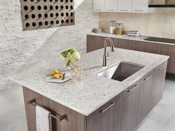 white ornamental granite kitchen counters