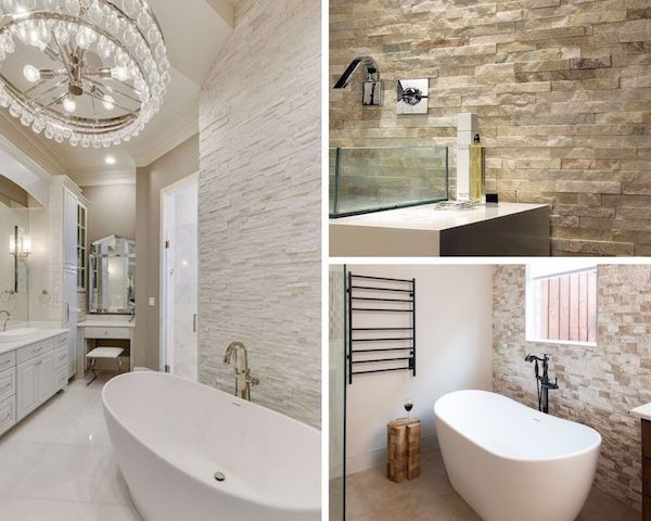 stacked stone in bathrooms