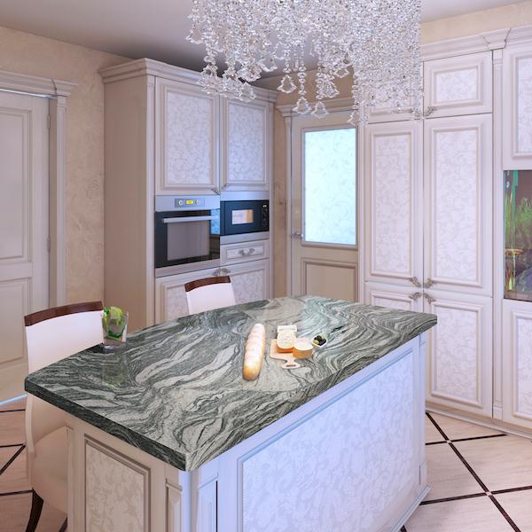 msi-gray-mist-granite-kitchen-island-with-crystal-chandelier