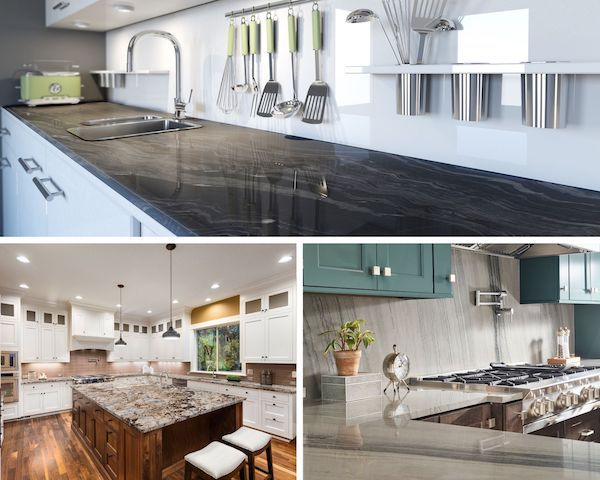 our most popular natural stone countertop choices: marble, quartzite, and granite